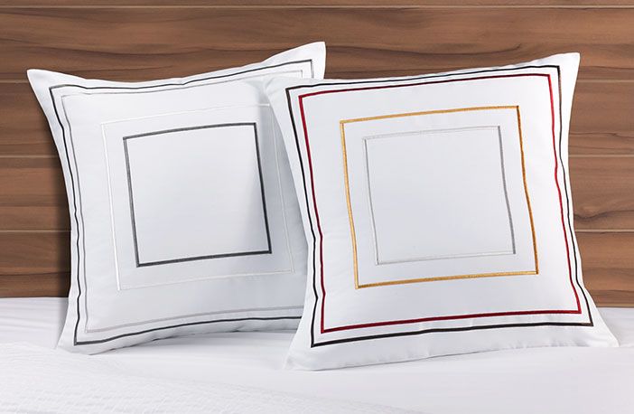 Frames Throw Pillow Courtyard Hotel Pillows Textured Coverlet And Shams